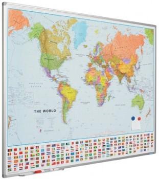 Wand- / Landkaart Softline profiel 8mm Wereldkaart