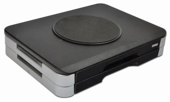 DESQ Monitorsteun met 2 lades, draaibaar