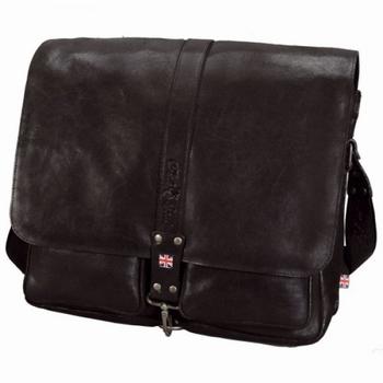 "Greyson schouder / laptoptas 15"" leder zwart"