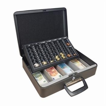 Geldkist met 2 handvaten en muntsorteerplaat 370x290x110mm