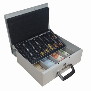Geldkist met 2 handvaten en muntsorteerplaat 335x275x90mm
