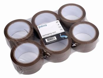 Verpakkingstape Low Noise 50mm x 66m Bruin - pak 6 rollen
