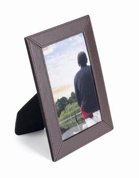 Luxe leatherlook fotolijst 10 x 15 cm bruin