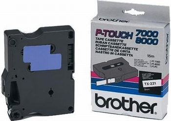 Brother Labeltape TX-221  9mm zwart op wit