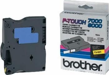 Brother Labeltape TX-621  9mm zwart op geel
