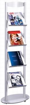 Kerkmann Folderrek Sirius voor 4 x A4 brochures Alu-Zilver