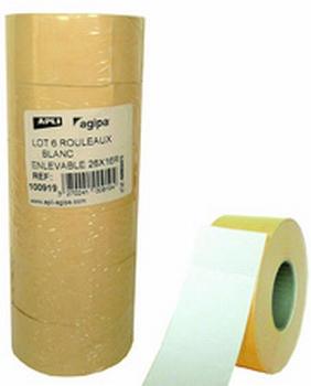 Agipa / Apli prijstang etiketten 26x16mm wit - 6 rollen