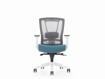 Bureaustoel luxe Kangaro netstof verstelbaar grijs/blauw
