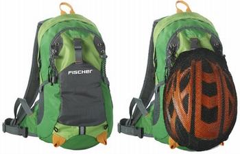 Fischer Fietsrugzak met net voor fietshelm groen