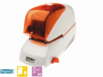 Nietmachine elektrisch Rapid 5080E  80 vel zilver/oranje