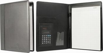 Conferentie schrijfmap A4 zwart met rekenmachine