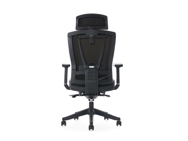 Bureaustoel Kangaro zwart PU met hoofdsteun