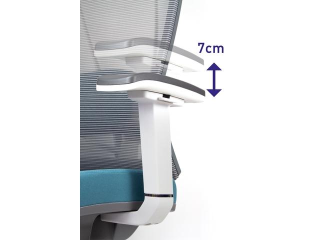 Bureaustoel luxe Kangaro netstof met hoofdsteun grijs/blauw