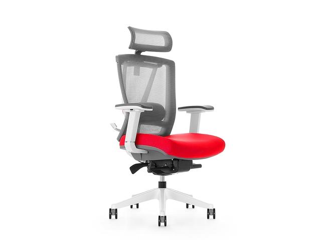 Bureaustoel luxe Kangaro netstof met hoofdsteun grijs/rood