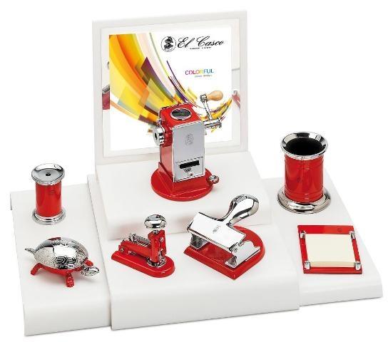 EL Casco M654 RO luxe pennenkoker Rood / Chroom