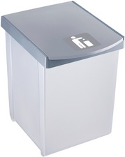Inzamelbox Helit voor recyclebare stoffen 20L grijs - rood