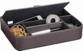 Luxe leatherlook pennenbak bruin 5-vaks