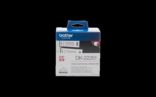 Etiket Brother DK-22251 doorlopend 62mm zwart/rood op wit